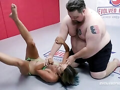 Mixed Nude Grappling Fight As Stacey Daniels Battles Vinnie ONeil And Bj's His Cock