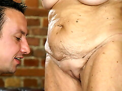 Highly old woman and a young dick