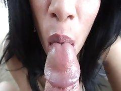 Sexiest close up cum swallow ever