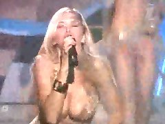 Busty pop star - nipple slip