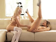 Blonde And Brunette Dykes In A Hot 69 action