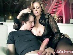 Busty Milf Julia Ann Makes Boy Toy Cum on His Face!