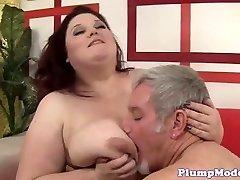 Redhead BBW with massive boobs gets screwed