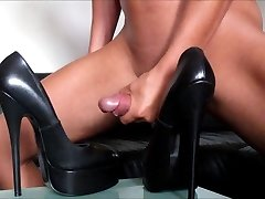My huge cumshot on fetish platform Heels