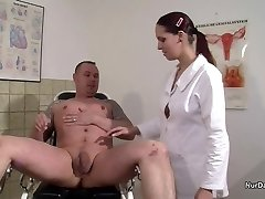 German Nurse want a Semen Example and get it with Fuck