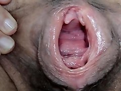 Wet and Hairy gaped pussy