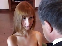 Old lucky teacher receives young pussy to pass her the exam