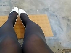 Milky Patent Pumps with Grey Pantyhose Teaser Two