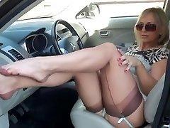 Astounding Cougar Flashing Stockings