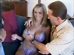 sexy blonde mother playing with two men