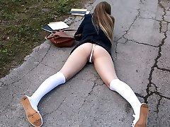 Monster cock in schoolgirl cunny