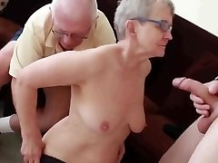 Granny & Husband Invite a Young Fellow to Plumb Her