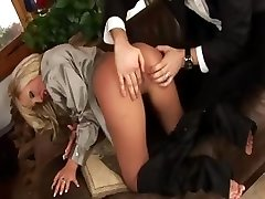 Blonde babe in satin top getting drilled by fortunate guy
