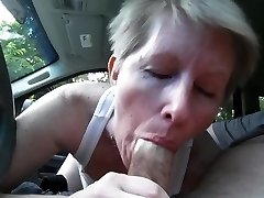 sucking beefstick in car
