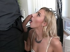 Crazy clothed sex with sexy big-titted secretary Nathaly Cherie urinating on a dick