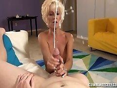 Sluty Mature Woman Wanks Off A Young Guy