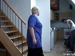He helps blonde grannie