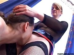 Nice oral job for a blonde mature doll by young boy