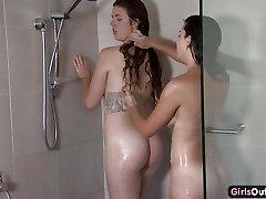 Amateur lesbian showering and finger-banging