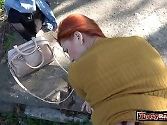 Steaming teen outdoor with cumshot