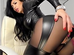 Hot vinyl latex leather Camgirl in Fake Leather