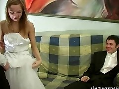 Sexy Bride gets penetrated by two groomsmen