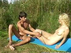 Sex of teenagers outdoors