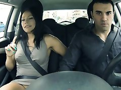 Horny Latin GF squirts in his car