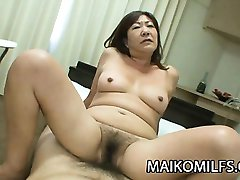 Michiko Okawa - Japanese Granny Riding On A Young Cock