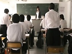 Busty Japanese teacher gets treated like a slut by a gang o