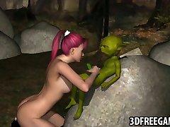 3D babe sucks on Yoda's cock
