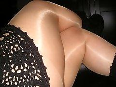 Gloss tan pantyhose tights