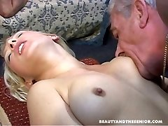 Two old men boning young sizzling girls