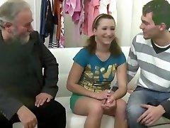 Old grey-bearded man pummels teen female when her own boyfriend comes and joins