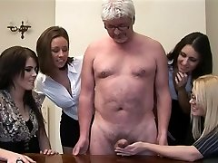 Gals give hand-job to a perv old man