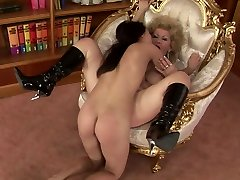 Gross as hell curly blond haired aged dyke gets her mature snatch licked