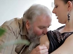 Teen gets fucked by an elder man while her beau watches