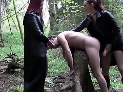 Punk femdoms pegging worthless fool together
