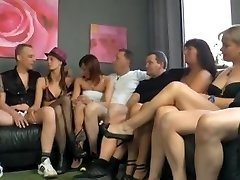 Awesome group poke action during swinger's party
