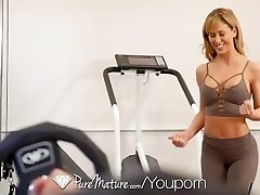 PUREMATURE Sexual instructing gym fuck with Cougar