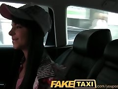 FakeTaxi Taxi driver convinces ebony haired hottie to suck his penis