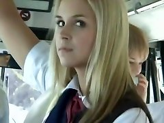 Bus Full of Blonde School Girls Trio