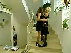 Maid sneaks on  lesbians