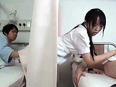 Horny dark haired Japanese nurse part4