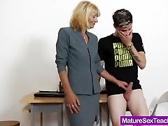 Mommy tutor playing plus a cock