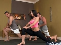 Busty yoga babe gets double penetrated