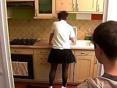 fellow visit mom in kitchen