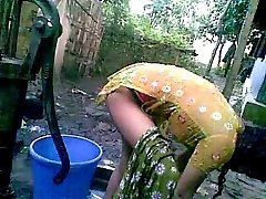 Bangla desi shameless village nephew-Nupur bathing outdoor
