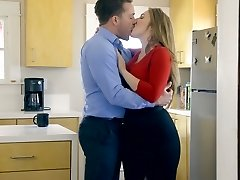 Good-sized boobed wifey Lena Paul is fucked by horny husband in the kitchen