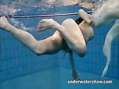 Andrea displays nice body underwater